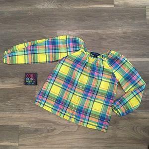 Ralph Lauren Girls Yellow Plaid Long Sleeve Top
